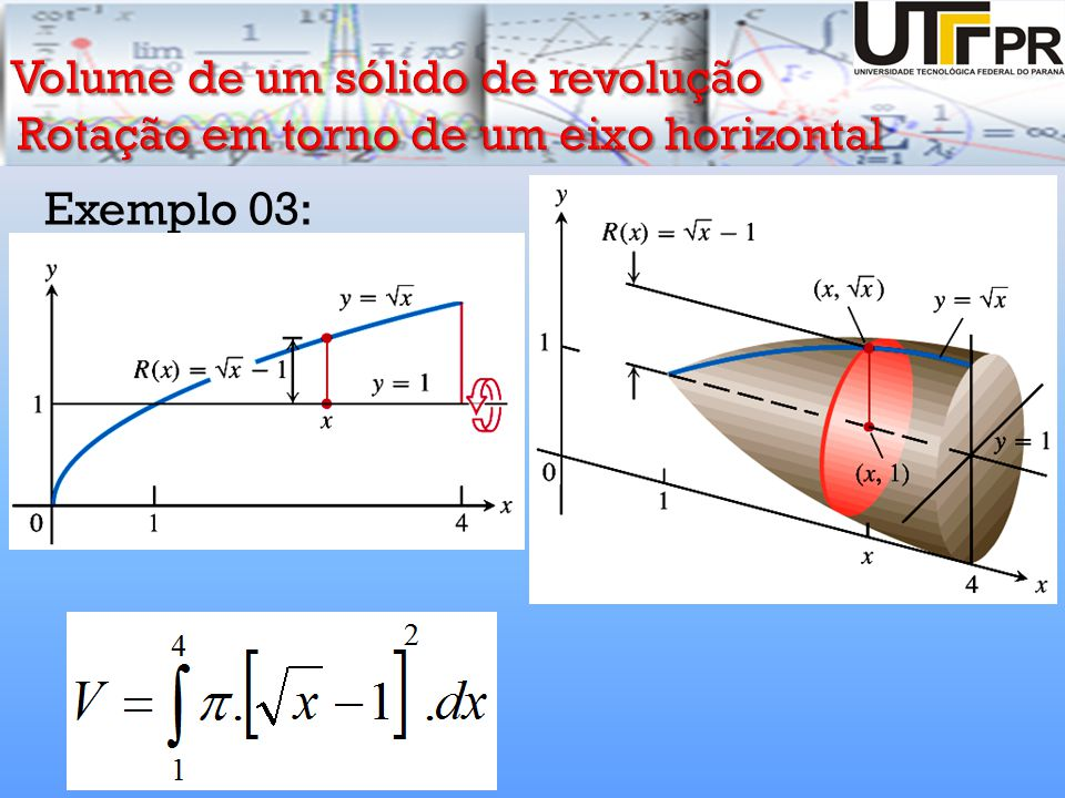 Volume de um sólido de revolução Rotação em torno de um eixo horizontal