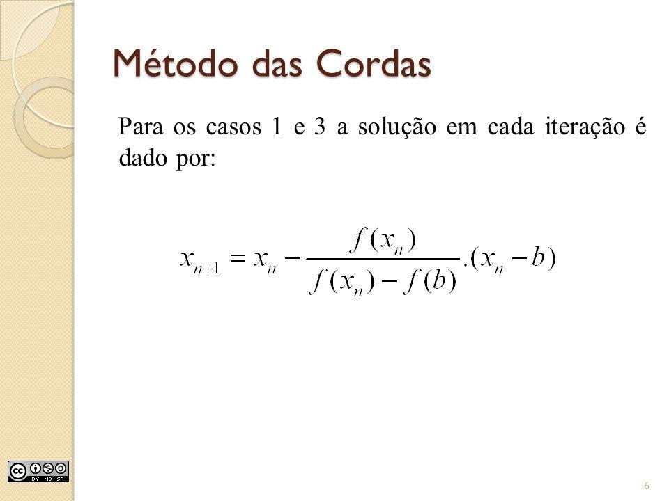 Método das Cordas Para os casos 1 e 3 a solução em cada iteração é dado por: