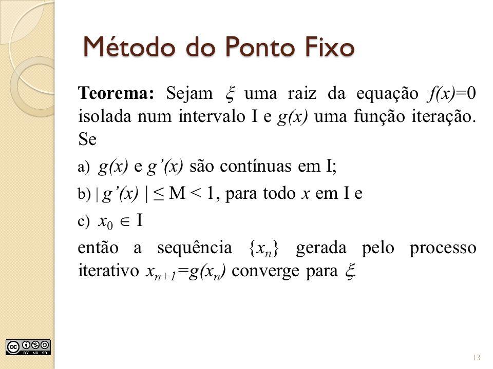 Método do Ponto Fixo Teorema: Sejam  uma raiz da equação f(x)=0 isolada num intervalo I e g(x) uma função iteração. Se.