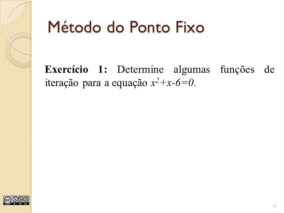 Método do Ponto Fixo Exercício 1: Determine algumas funções de iteração para a equação x2+x-6=0.