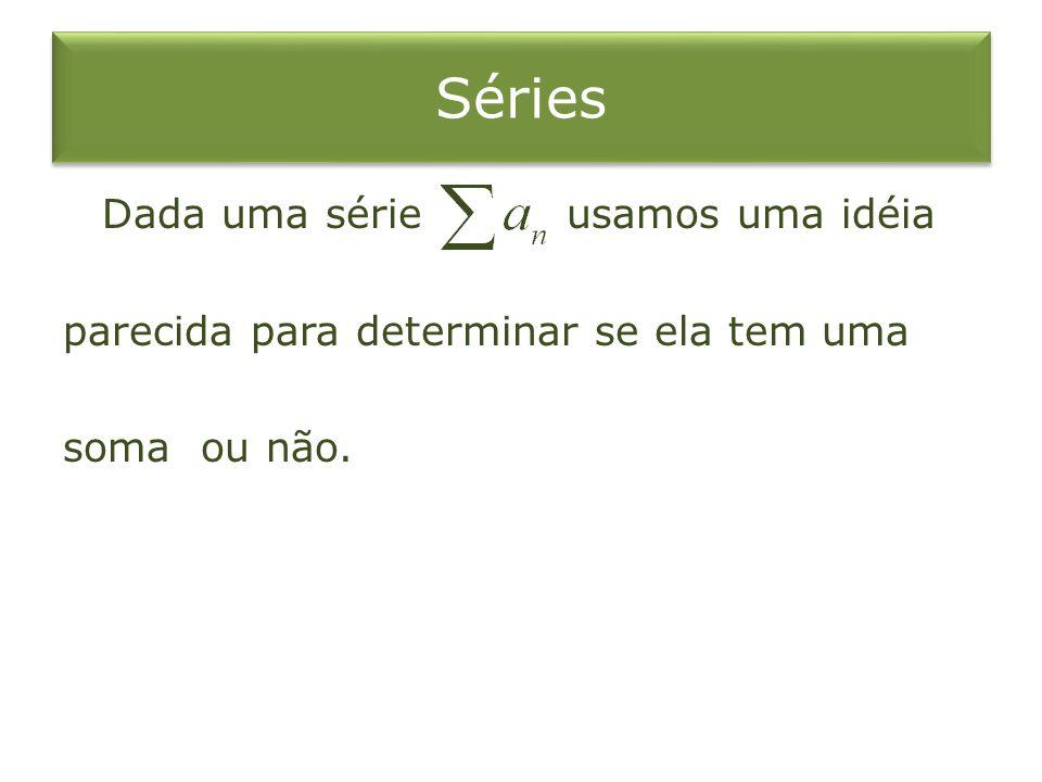 Séries Dada uma série usamos uma idéia parecida para determinar se ela tem uma soma ou não.