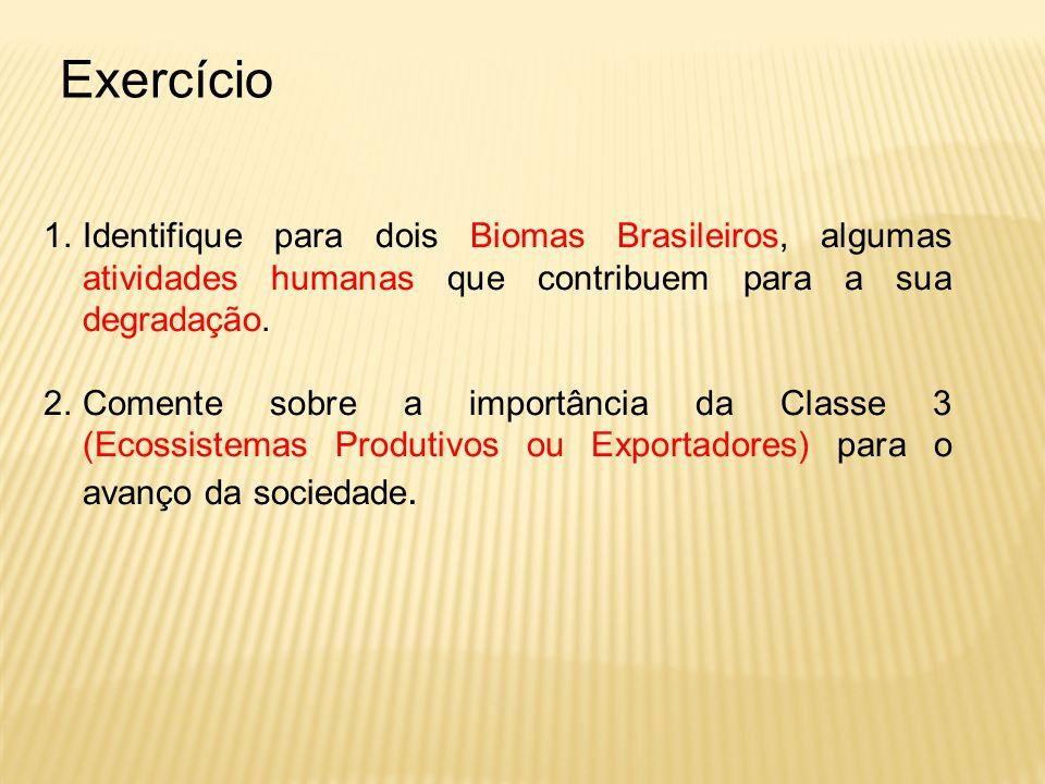 Exercício Identifique para dois Biomas Brasileiros, algumas atividades humanas que contribuem para a sua degradação.