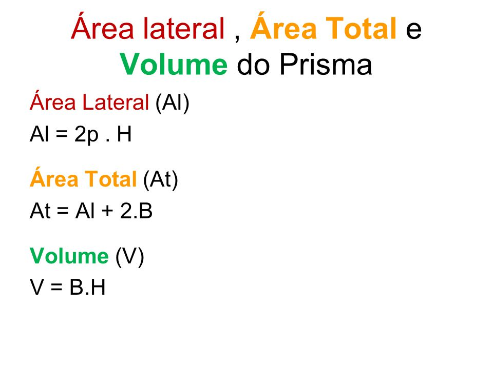 Área lateral , Área Total e Volume do Prisma