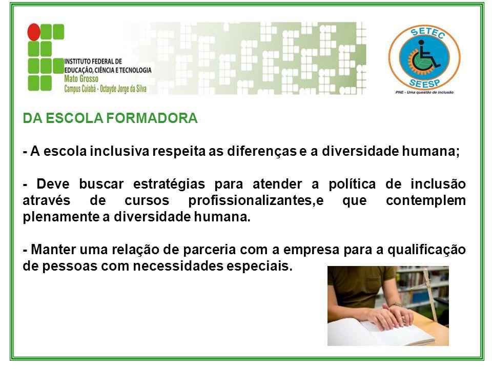 DA ESCOLA FORMADORA - A escola inclusiva respeita as diferenças e a diversidade humana;