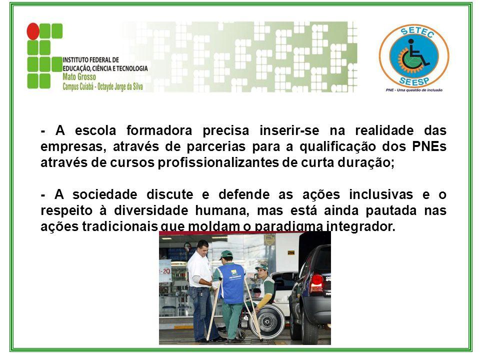 - A escola formadora precisa inserir-se na realidade das empresas, através de parcerias para a qualificação dos PNEs através de cursos profissionalizantes de curta duração;