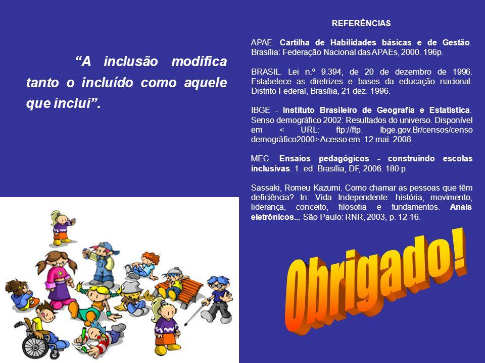 REFERÊNCIAS APAE. Cartilha de Habilidades básicas e de Gestão. Brasília: Federação Nacional das APAEs, 2000. 196p.
