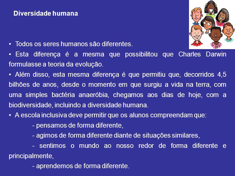 Diversidade humana Todos os seres humanos são diferentes.