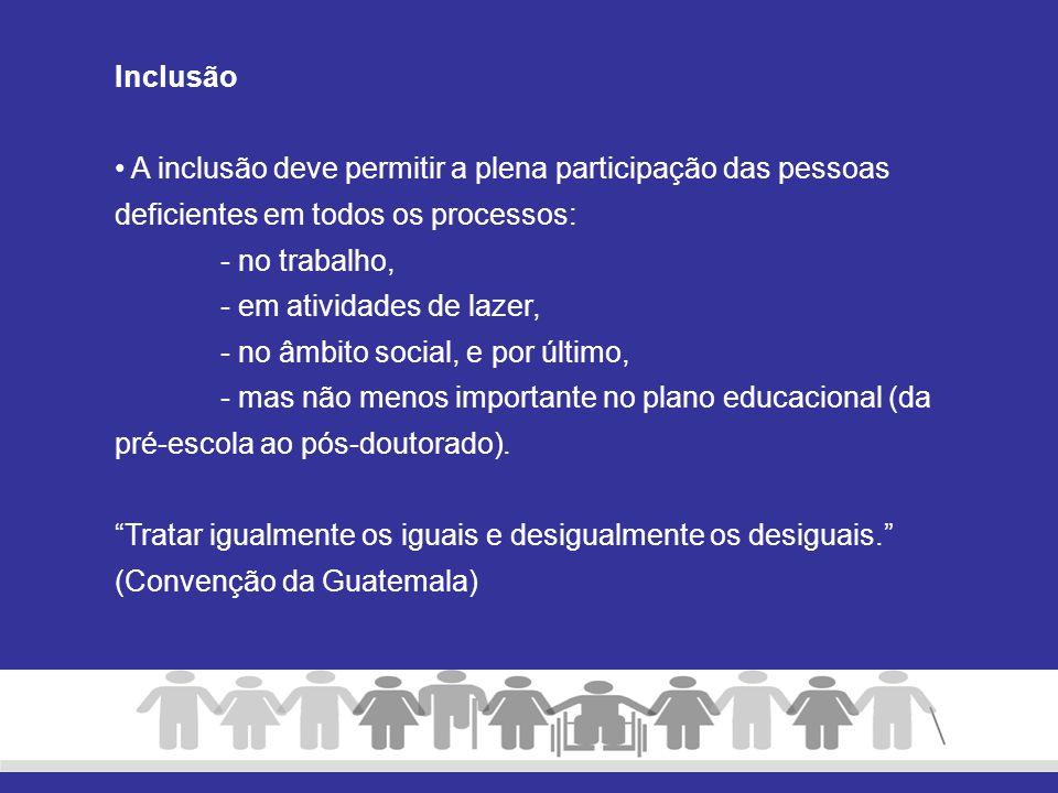 Inclusão A inclusão deve permitir a plena participação das pessoas deficientes em todos os processos: