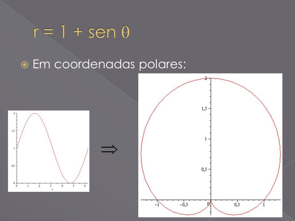 r = 1 + sen  Em coordenadas polares: