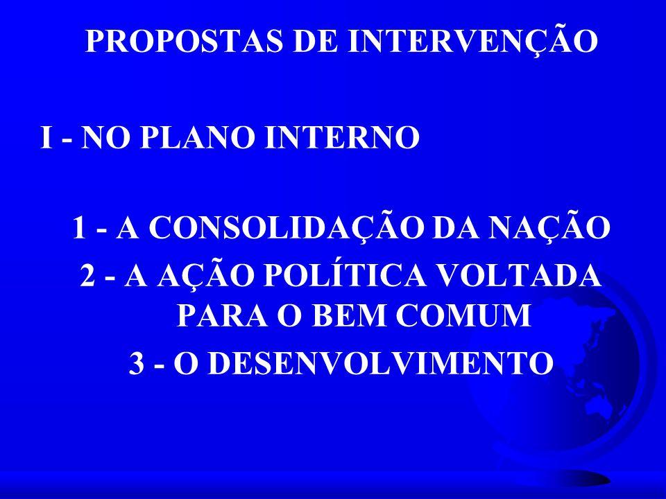 PROPOSTAS DE INTERVENÇÃO I - NO PLANO INTERNO