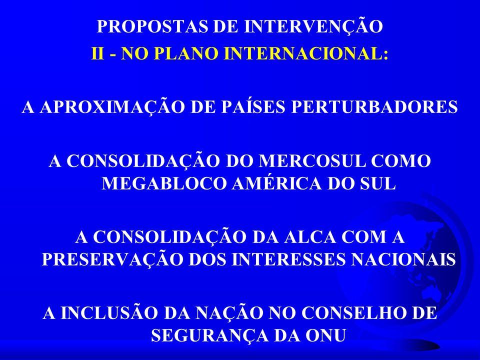 PROPOSTAS DE INTERVENÇÃO II - NO PLANO INTERNACIONAL: