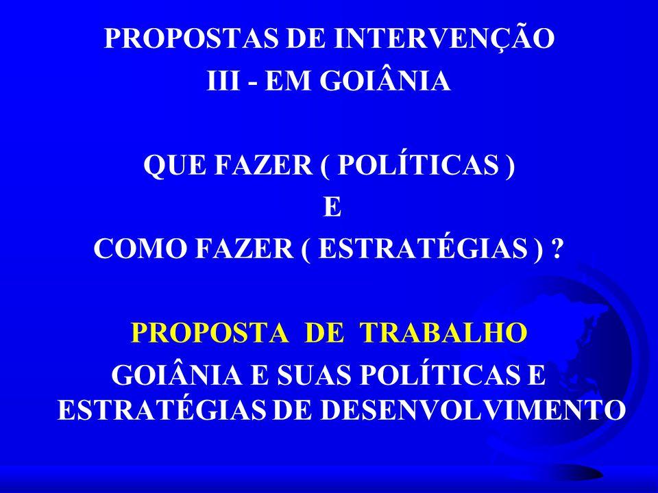 PROPOSTAS DE INTERVENÇÃO III - EM GOIÂNIA QUE FAZER ( POLÍTICAS ) E