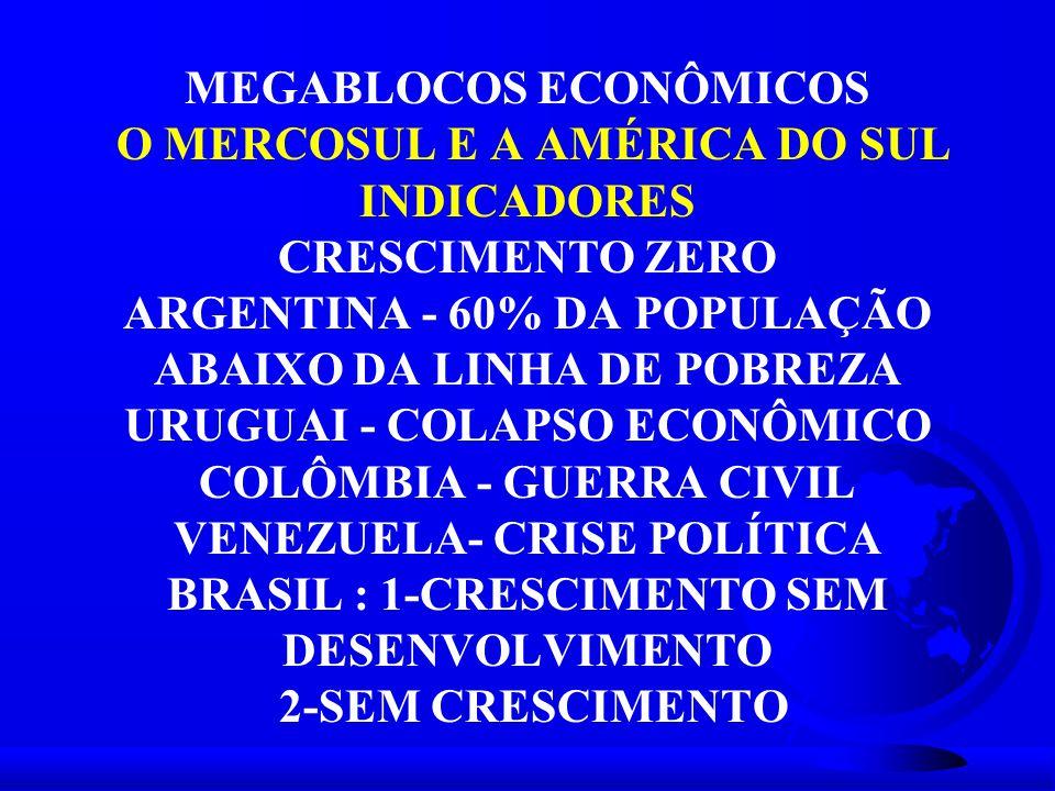 MEGABLOCOS ECONÔMICOS O MERCOSUL E A AMÉRICA DO SUL INDICADORES CRESCIMENTO ZERO ARGENTINA - 60% DA POPULAÇÃO ABAIXO DA LINHA DE POBREZA URUGUAI - COLAPSO ECONÔMICO COLÔMBIA - GUERRA CIVIL VENEZUELA- CRISE POLÍTICA BRASIL : 1-CRESCIMENTO SEM DESENVOLVIMENTO 2-SEM CRESCIMENTO