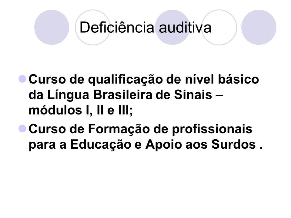 Deficiência auditiva Curso de qualificação de nível básico da Língua Brasileira de Sinais – módulos I, II e III;