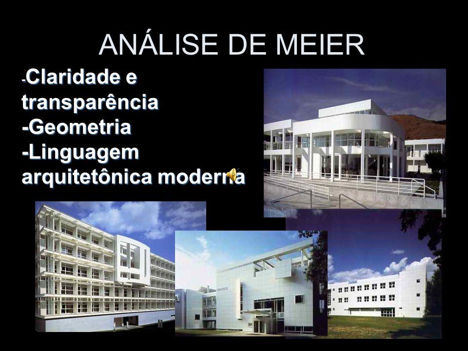 ANÁLISE DE MEIER -Geometria -Linguagem arquitetônica moderna