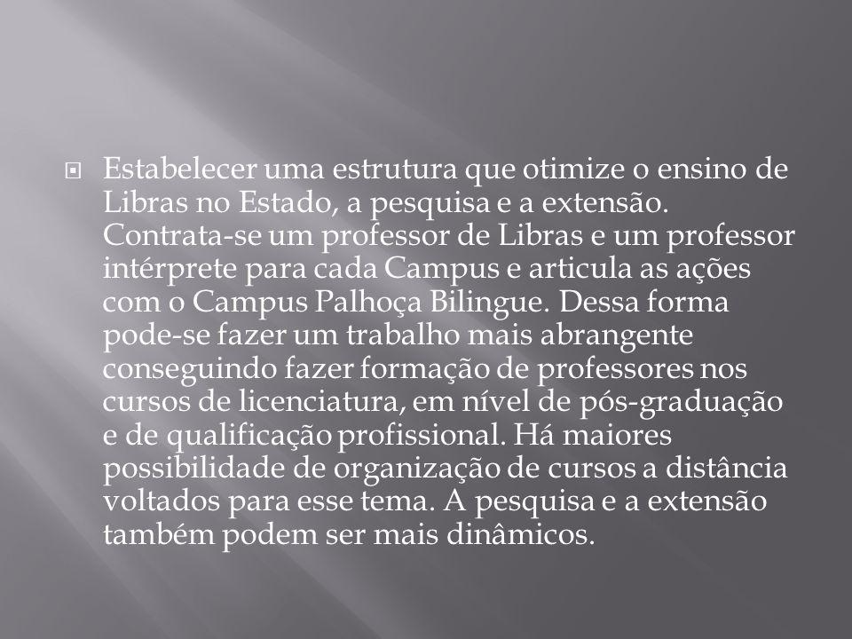 Estabelecer uma estrutura que otimize o ensino de Libras no Estado, a pesquisa e a extensão.