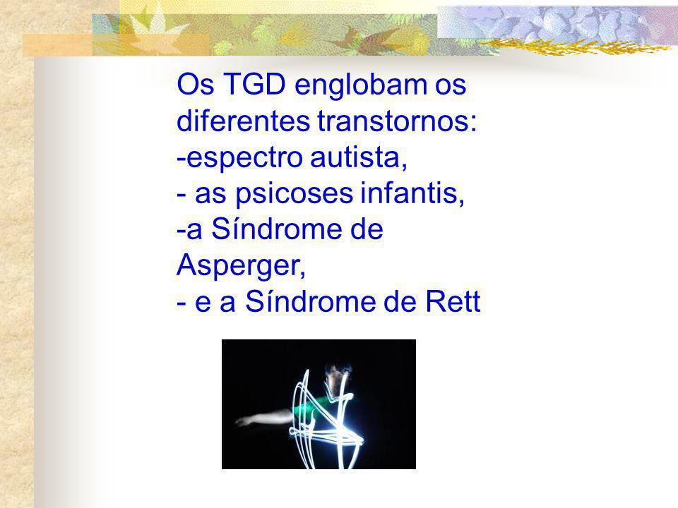 Os TGD englobam os diferentes transtornos: