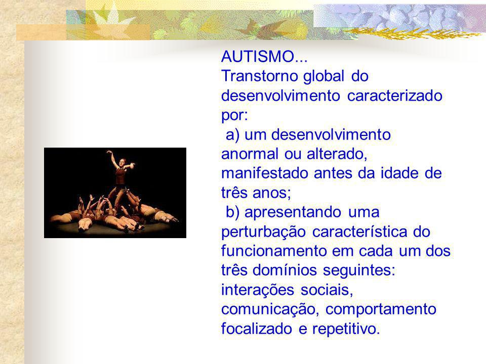 AUTISMO... Transtorno global do desenvolvimento caracterizado por: