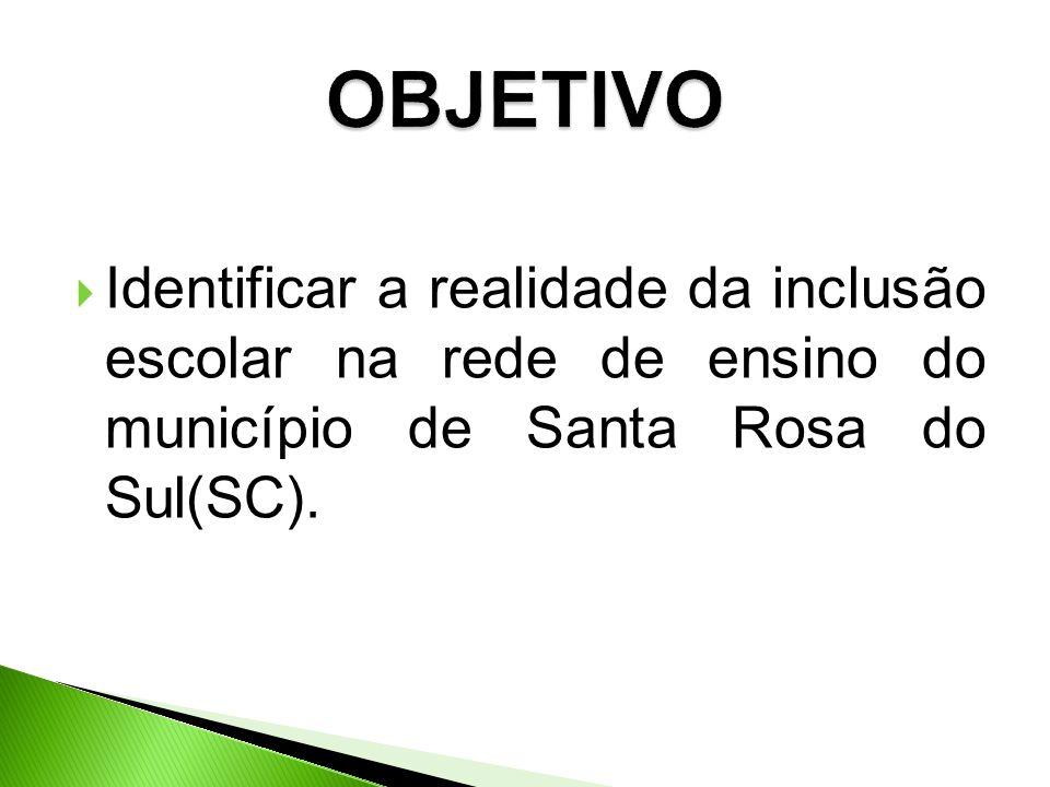 OBJETIVO Identificar a realidade da inclusão escolar na rede de ensino do município de Santa Rosa do Sul(SC).