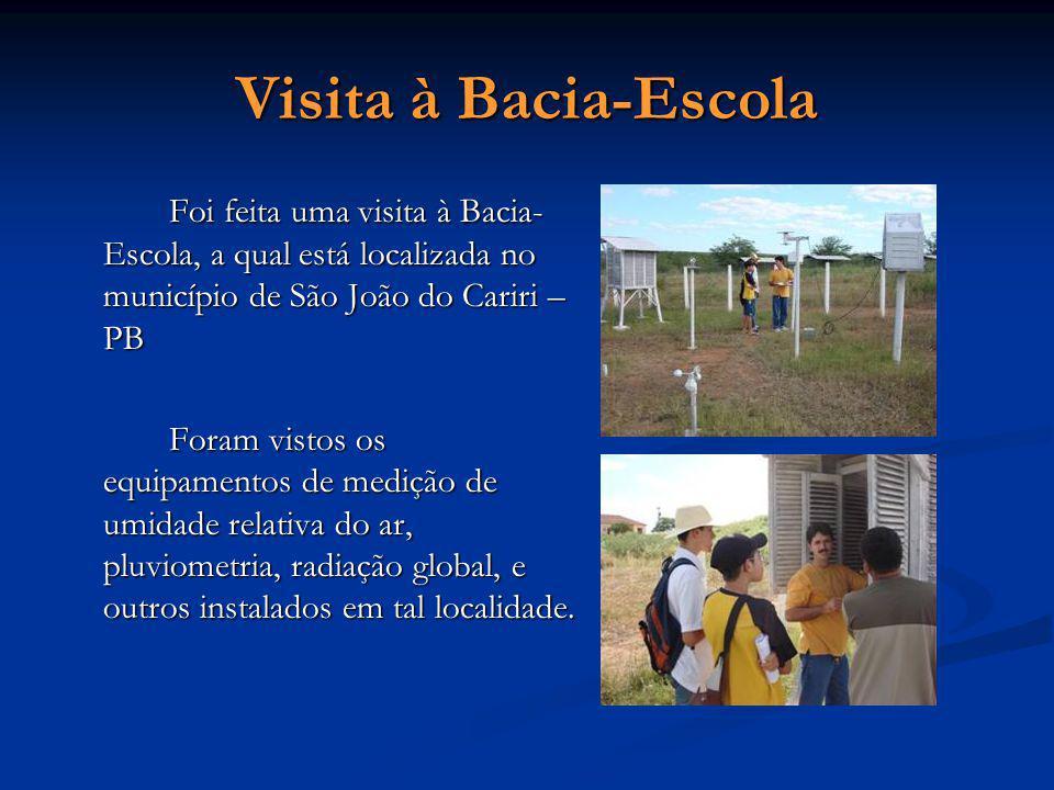 Visita à Bacia-Escola Foi feita uma visita à Bacia-Escola, a qual está localizada no município de São João do Cariri – PB.