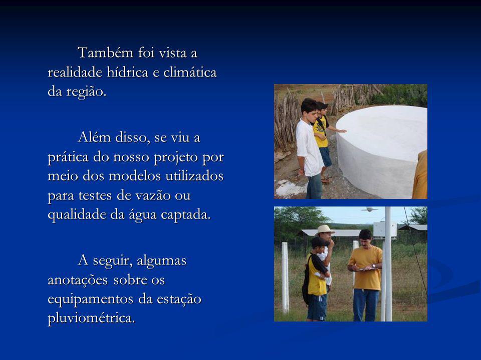 Também foi vista a realidade hídrica e climática da região.
