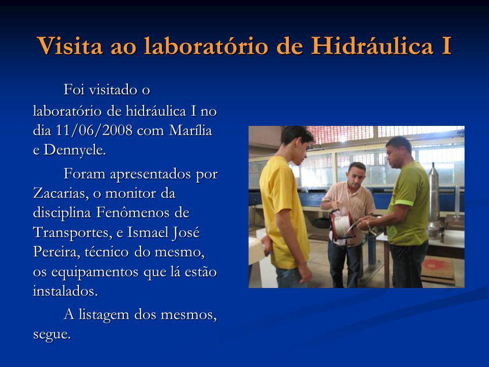 Visita ao laboratório de Hidráulica I