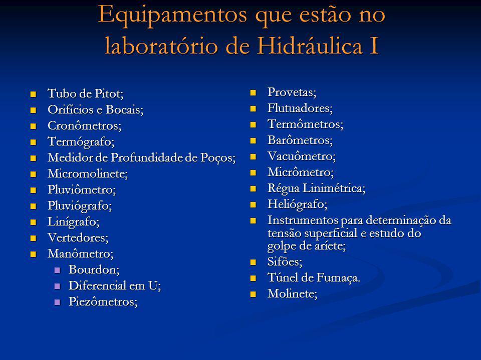 Equipamentos que estão no laboratório de Hidráulica I