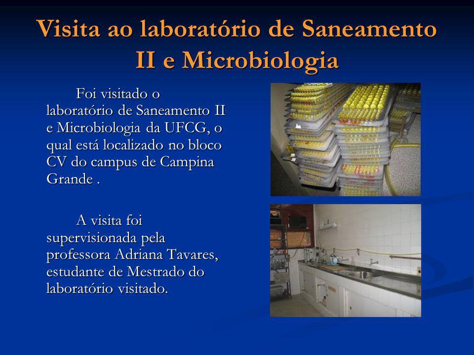 Visita ao laboratório de Saneamento II e Microbiologia