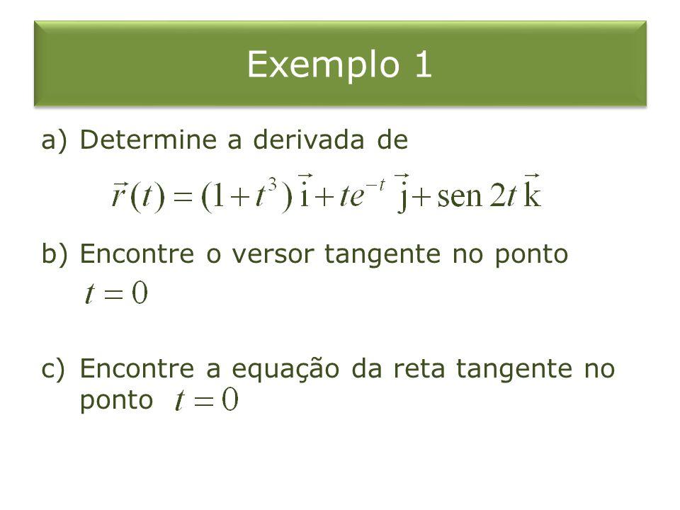 Exemplo 1 Determine a derivada de Encontre o versor tangente no ponto