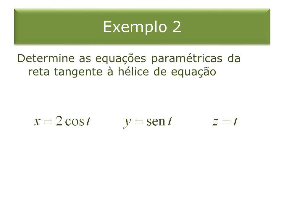 Exemplo 2 Determine as equações paramétricas da reta tangente à hélice de equação