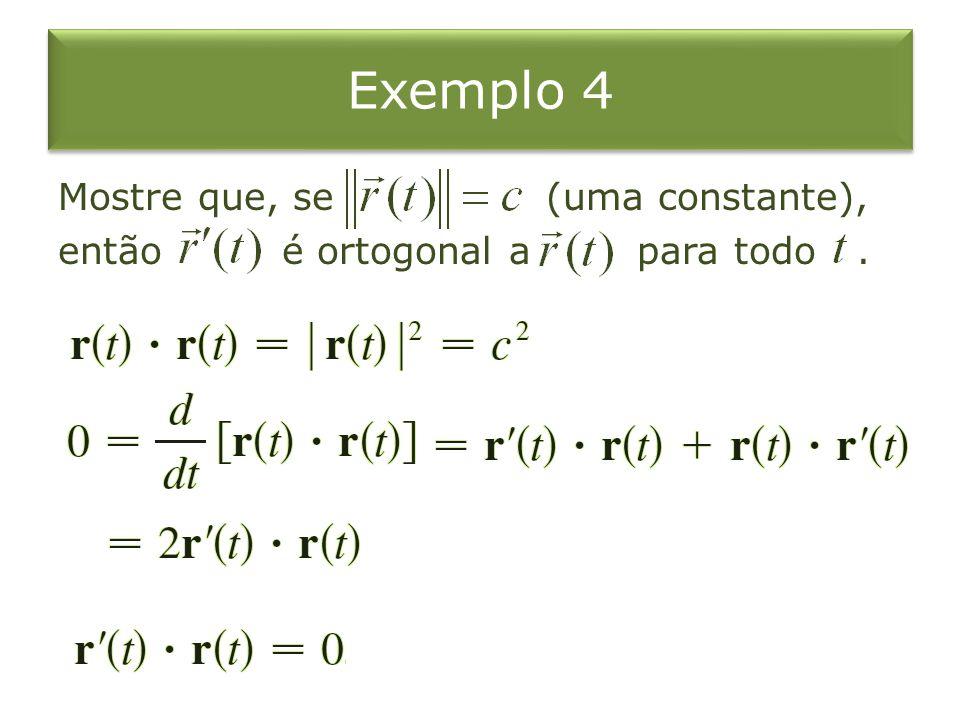 Exemplo 4 Mostre que, se (uma constante), então é ortogonal a para todo .