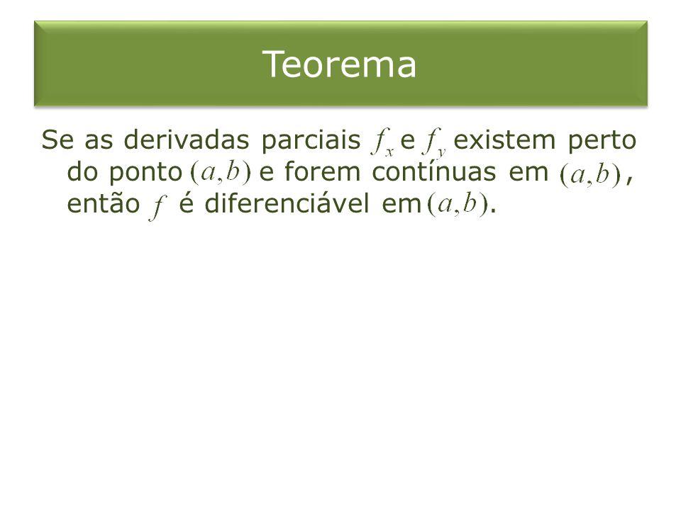 Teorema Se as derivadas parciais e existem perto do ponto e forem contínuas em , então é diferenciável em .