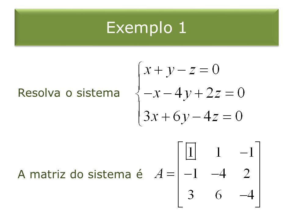 Exemplo 1 Resolva o sistema A matriz do sistema é