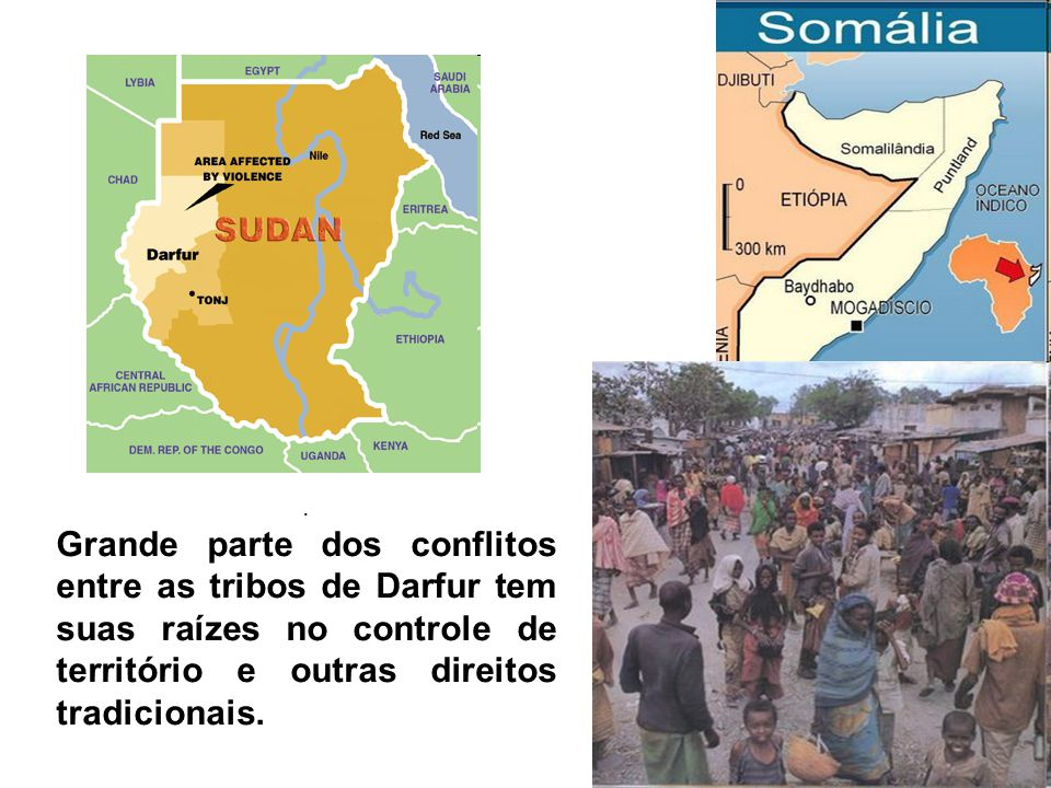 . Grande parte dos conflitos entre as tribos de Darfur tem suas raízes no controle de território e outras direitos tradicionais.
