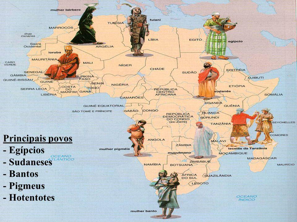 Principais povos - Egípcios - Sudaneses - Bantos - Pigmeus - Hotentotes