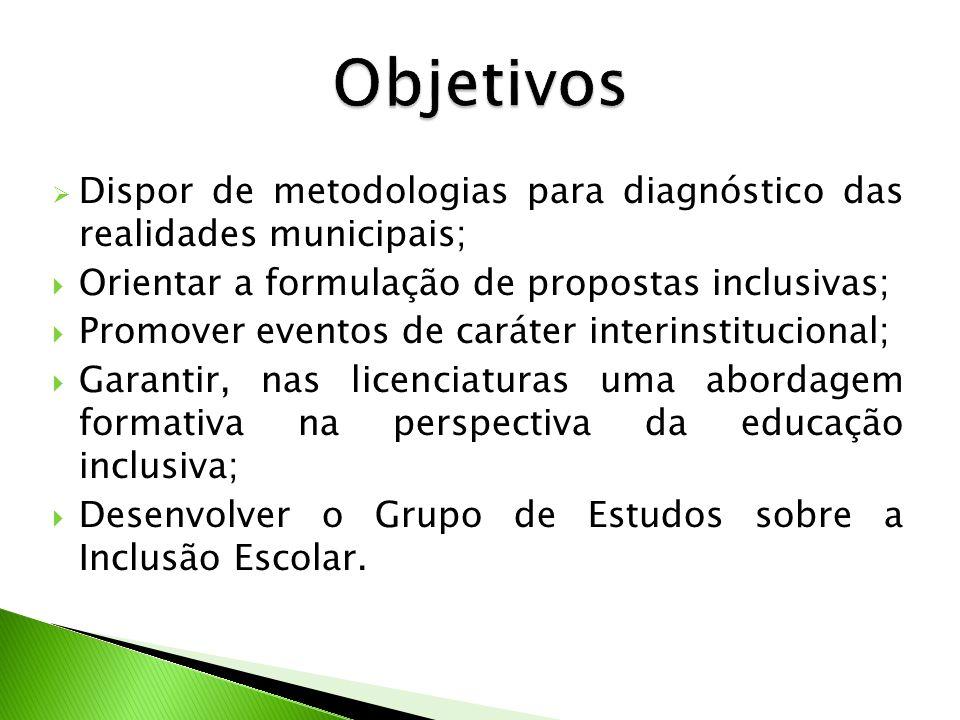 Objetivos Dispor de metodologias para diagnóstico das realidades municipais; Orientar a formulação de propostas inclusivas;