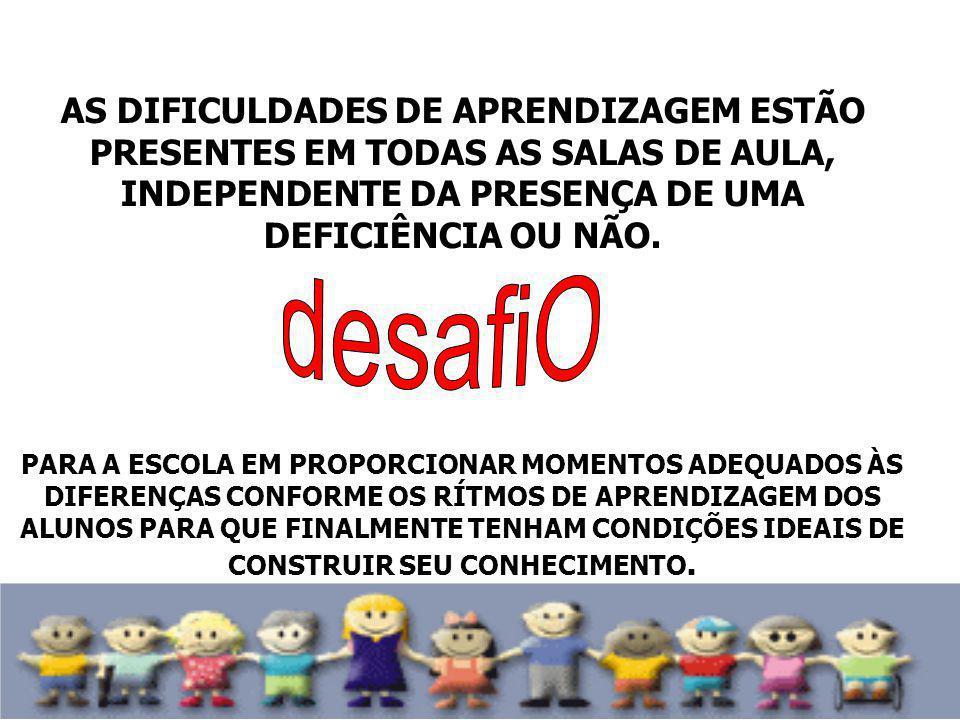 AS DIFICULDADES DE APRENDIZAGEM ESTÃO PRESENTES EM TODAS AS SALAS DE AULA, INDEPENDENTE DA PRESENÇA DE UMA DEFICIÊNCIA OU NÃO.