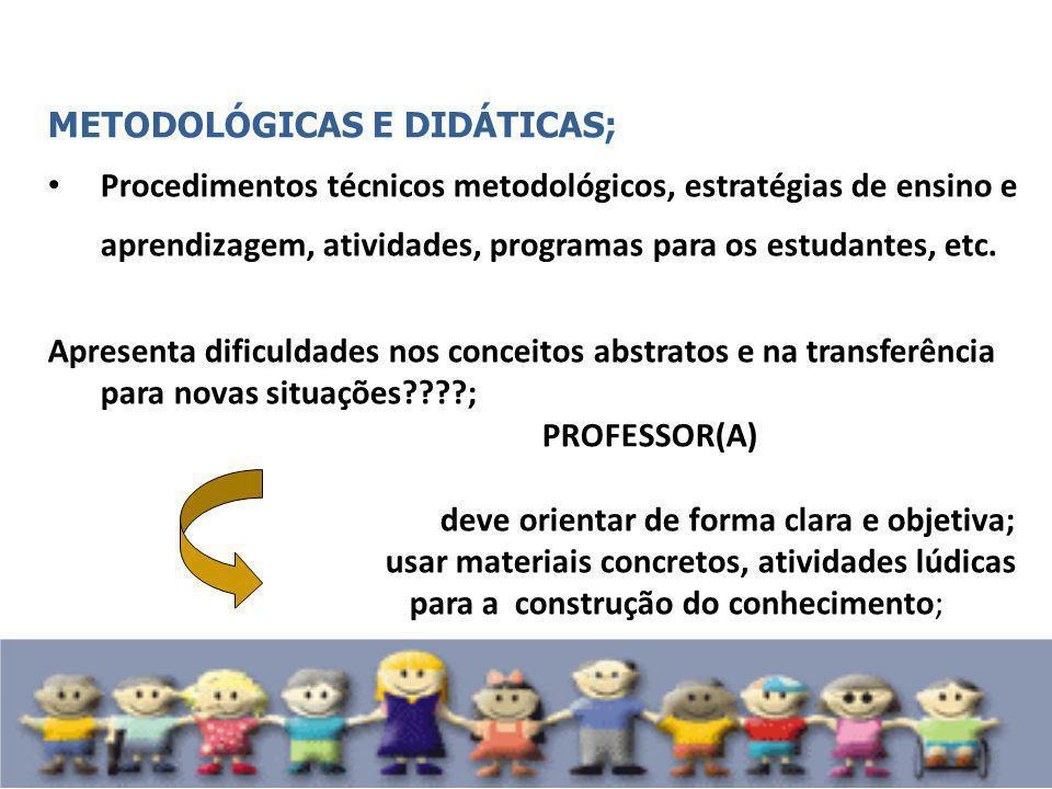 METODOLÓGICAS E DIDÁTICAS;