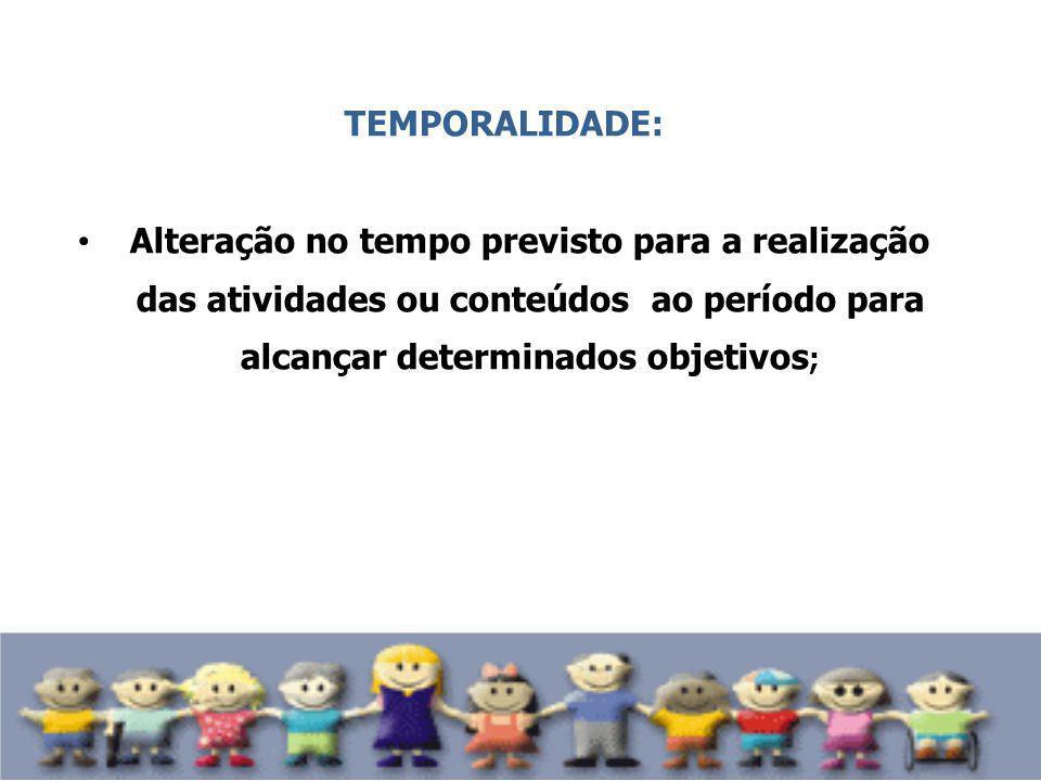 TEMPORALIDADE: Alteração no tempo previsto para a realização das atividades ou conteúdos ao período para alcançar determinados objetivos;