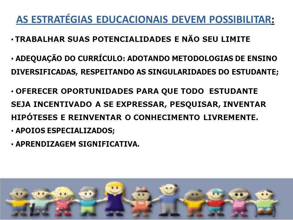 AS ESTRATÉGIAS EDUCACIONAIS DEVEM POSSIBILITAR: