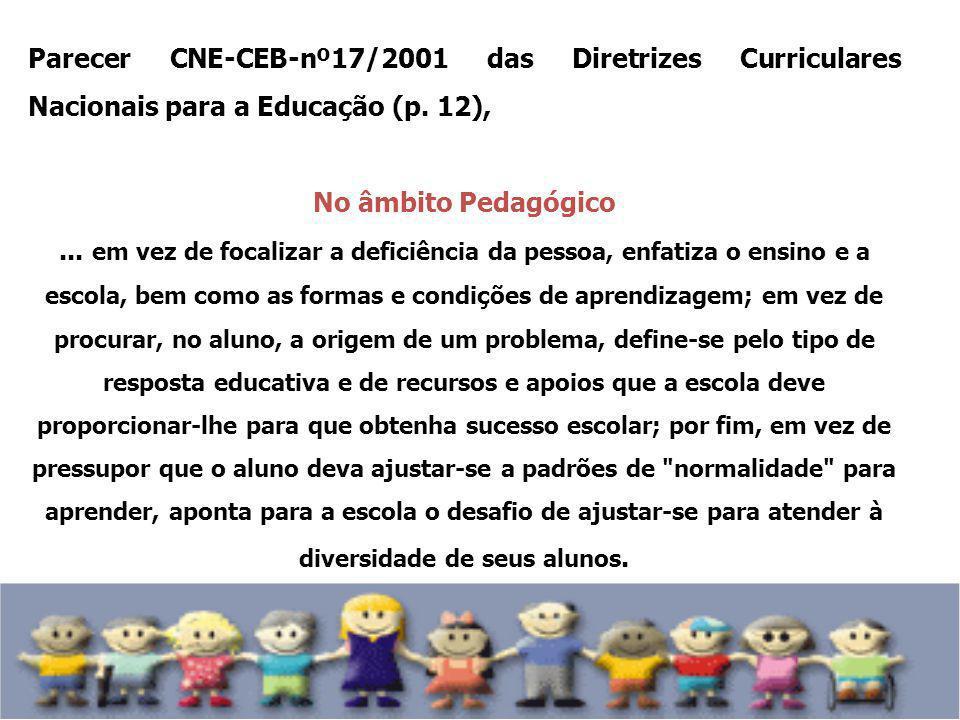 Parecer CNE-CEB-nº17/2001 das Diretrizes Curriculares Nacionais para a Educação (p. 12),