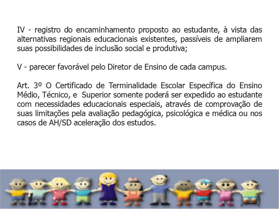 IV - registro do encaminhamento proposto ao estudante, à vista das alternativas regionais educacionais existentes, passíveis de ampliarem suas possibilidades de inclusão social e produtiva;