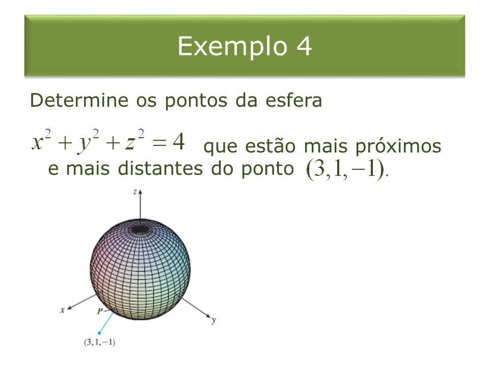 Exemplo 4 Determine os pontos da esfera que estão mais próximos e mais distantes do ponto.