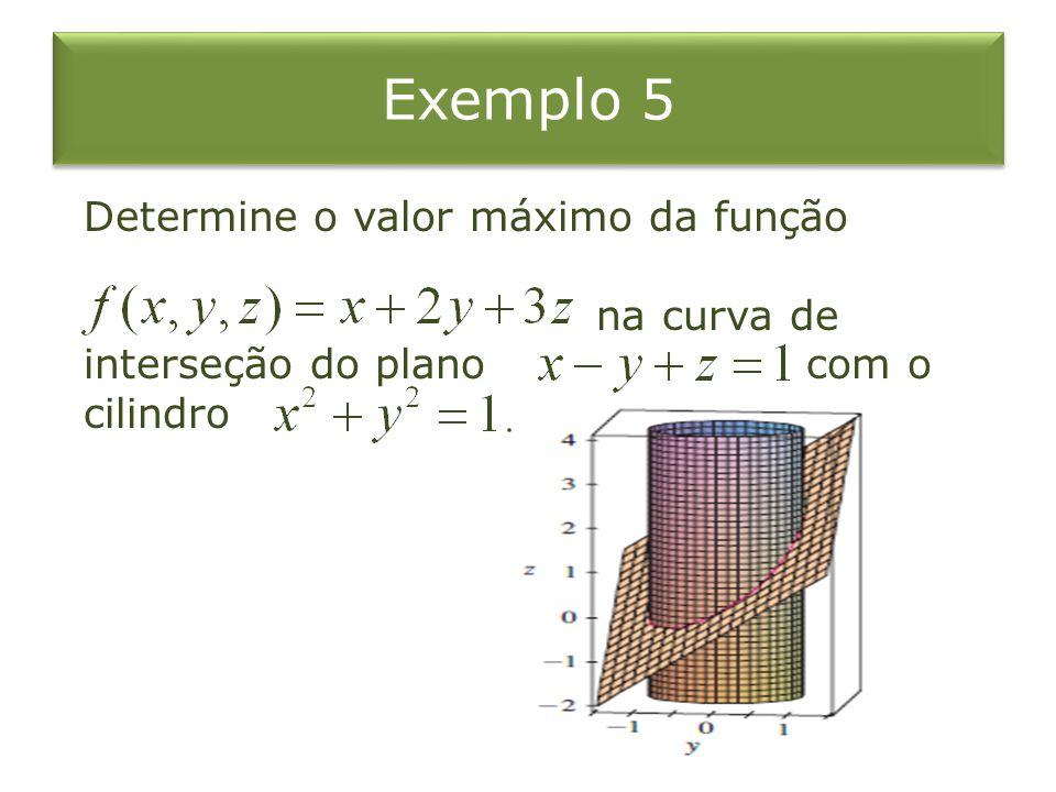 Exemplo 5 Determine o valor máximo da função na curva de interseção do plano com o cilindro.