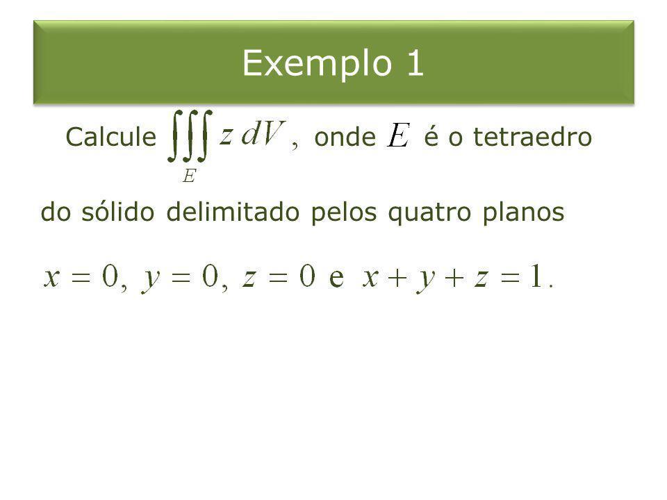 Exemplo 1 Calcule onde é o tetraedro do sólido delimitado pelos quatro planos