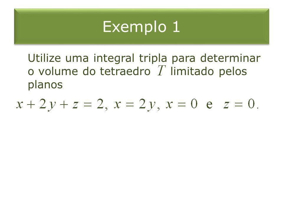 Exemplo 1 Utilize uma integral tripla para determinar o volume do tetraedro limitado pelos planos.