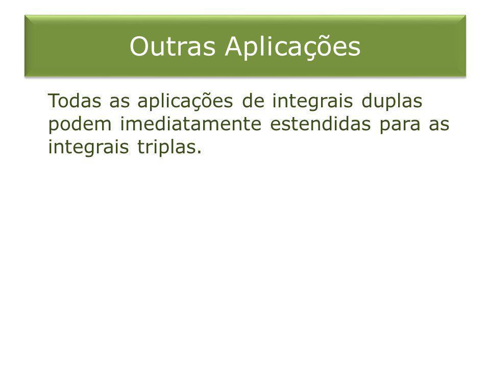 Outras Aplicações Todas as aplicações de integrais duplas podem imediatamente estendidas para as integrais triplas.