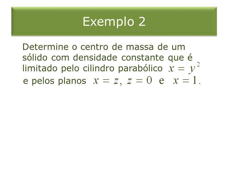 Exemplo 2 Determine o centro de massa de um sólido com densidade constante que é limitado pelo cilindro parabólico e pelos planos