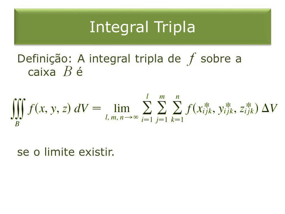 Integral Tripla Definição: A integral tripla de sobre a caixa é se o limite existir.