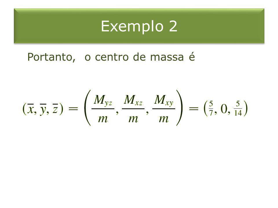 Exemplo 2 Portanto, o centro de massa é